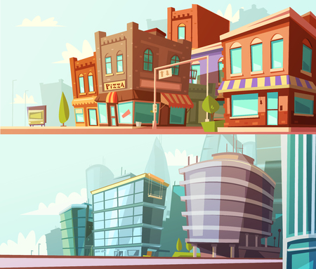 현대 및 역사적인 도시 지구 스트리트 뷰 하루 스카이 라인 2 가로 배너 만화 격리 된 벡터 일러스트 레이 션 설정 일러스트