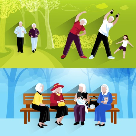 Elderly People Banners Set. Elderly People Vector Illustration. Elderly People Concept. Elderly People Horizontal Compositions. Elderly People Decorative Illustration. Elderly People Symbols.