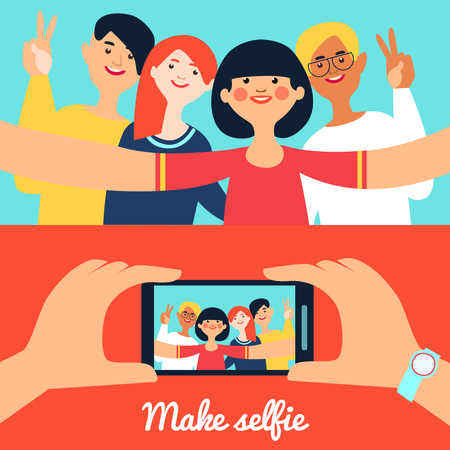 photo people: Selfie photo of friends banners with young happy people and portrait on phone screen isolated vector illustration Illustration