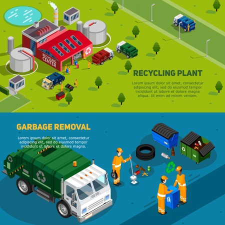 waste disposal: Two isometric garbage banners with trucks for waste disposal working cleaners and recycling plant icons vector illustration