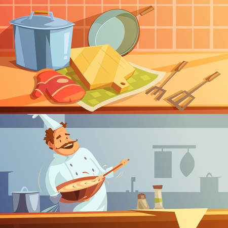 specialities: Cooking cartoon horizontal banners set with chef and kitchen utensils isolated vector illustration Illustration