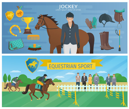 hippodrome: Horizontal color decorative banners depicting jockey with equipment and horse with equestrian at hippodrome vector illustration Illustration