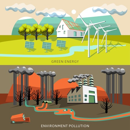 air pollution cartoon: Green energy and environment pollution banners with soiling and cleanness of air  mountains rivers isolated vector illustration