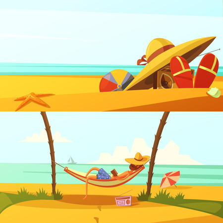 wears: Summer holiday horizontal cartoon banners set with beach wears and equipment isolated vector illustration