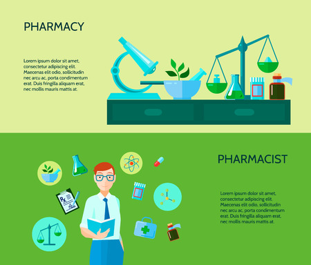 describe: Two pharmacy banner describe pharmacist with manufacture of drugs and substances process vector illustration