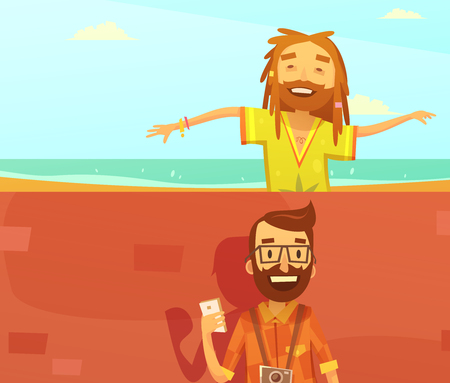 rastafarian: Subcultures horizontal cartoon banners set with hipster and rastafarian isolated vector illustration