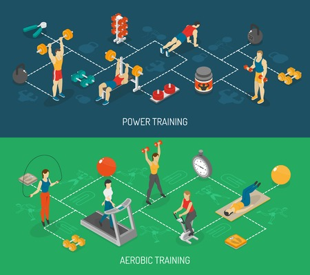 program: Weight strength and fitness training in sport center 2 isometric horizontal banners set abstract isolated vector illustration