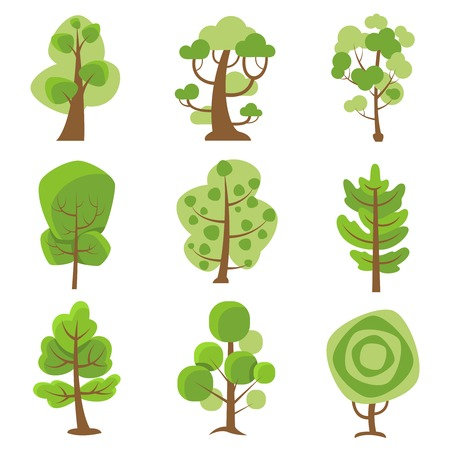 leaved: Tree logo flat cartoon decorative icons set on white background with deciduous and coniferous types trees isolated vector illustration Illustration
