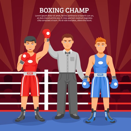 ringside: Boxing champ flat design composition with two boxers on ringside and referee lifting winner hand vector illustration Illustration