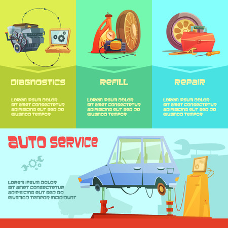 wheel change: Auto service infographic set with diagnostics refill and repair symbols cartoon  vector illustration