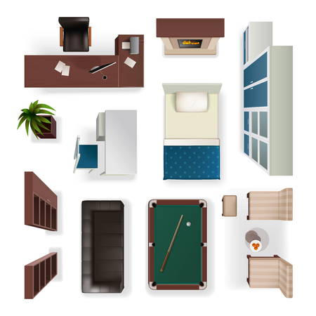 classic interior: Modern interior furniture for office living and bedroom isolated realistic objects set top view  isolated vector illustration Illustration