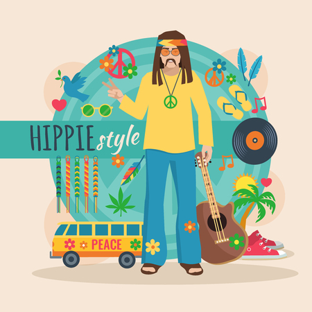 Hippie character pack for long hair man with accessory and trendy elements vector illustration