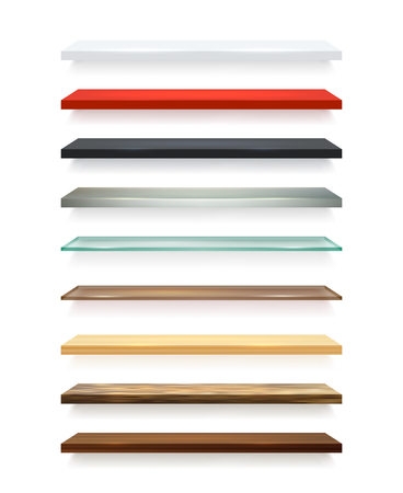 wooden shelves: Realistic different colors wooden shelves set attached to the white wall and with shadows vector illustration Illustration
