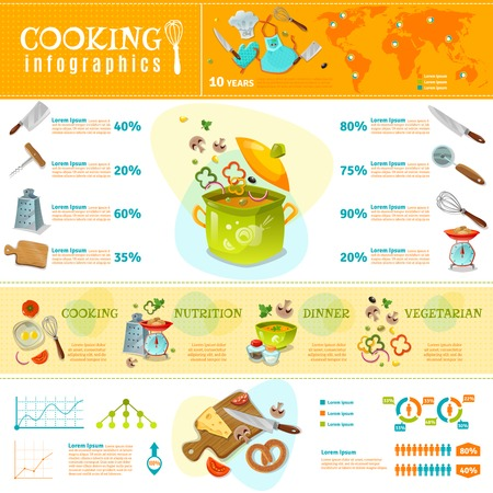 home products: Cooking infographics flat layout with statistics of  kitchenware sales and set of products for home cooked food vector illustration