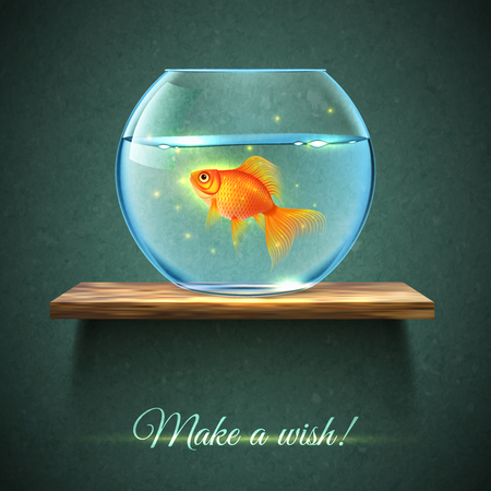 Realistic aquarium with gold fish on a wooden shelf poster and title make a wish vector illustration Ilustrace