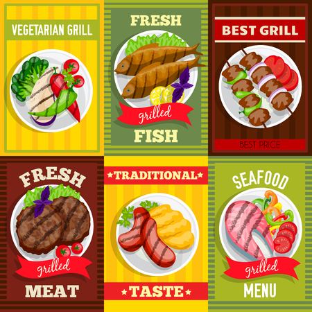 grill meat: Barbecue mini posters set vegetarian grill fish meat seafood dishes vector illustration Illustration