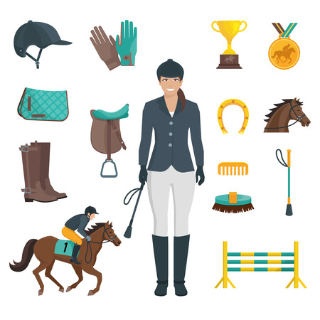 derby hats: Set of flat color icons with white background depicting jockey equipment and horse vector illustration Illustration