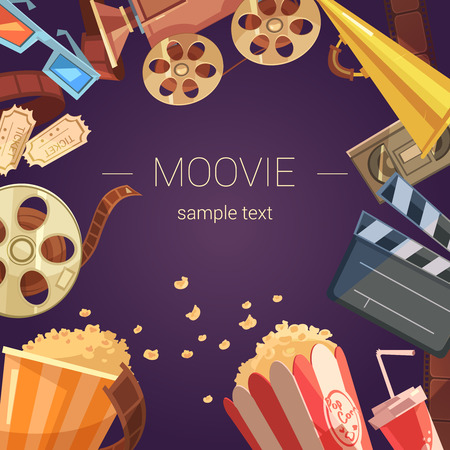 videocassette: Movie cartoon background with camera tickets videocassette and popcorn vector illustration