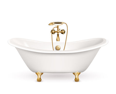 bathtub: Realistic retro bathtub icon white with golden arms and legs and shadow at the bottom vector illustration