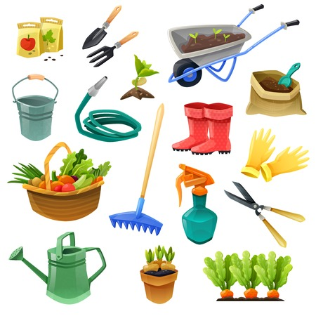 Gardening isolated color icons with handcart  hose for watering rubber boots bag of fertilizer and basket with vegetables vector illustration
