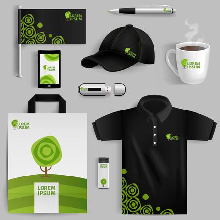 birretes: Elementos decorativos de la identidad corporativa con el símbolo de árbol verde en estilo realista con aislados bolsa de unidad flash USB Pen taza gorra de béisbol ilustración vectorial