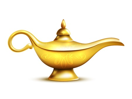 Aladdin yellow iron lamp isolated icon with shadow and ornaments on white background vector illustration Illustration