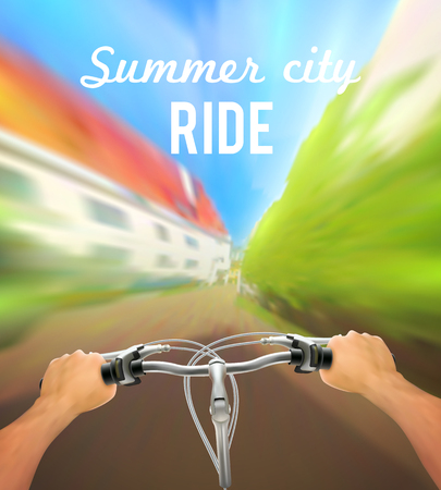 handlebar: Handlebar colored poster with man on bike rides in the city and description summer city ride vector illustration
