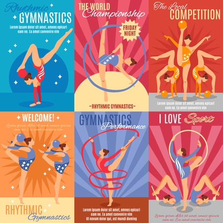 Print design: Collection of six rhythmic gymnastics posters with advertising of oncoming world championship and gymnast performance presentation flat vector illustration Illustration