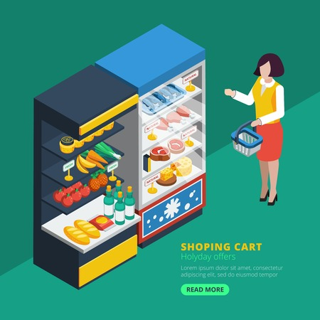 interior shelving: Isometric supermarket interior with shelving fridge and purchaser with shopping basket  beside vector illustration Illustration
