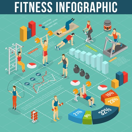 gym room: Fitness Infographic Set.Fitness Club Information. Fitness Isometric Set. Fitness Vector Illustration.