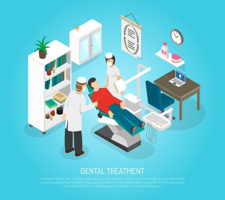 medical assistant: Medical oral treatment in dentist clinic  with patient in the chair and assistant isometric abstract vector illustration Illustration