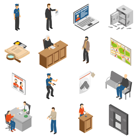 Justice and law isometric icons set with policeman defendant judgment jail safe map interrogation isolated vector illustration