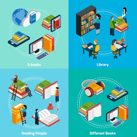 books library: Isometric 2x2 compositions presenting classic library e-books reading people and different types of books vector illustration