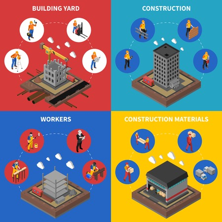 industry design: Construction Isometric Concept. Builder Icons Set. Building Industry Vector Illustration. Construction Industry Symbols. Construction Design Set.Construction  Elements Collection.