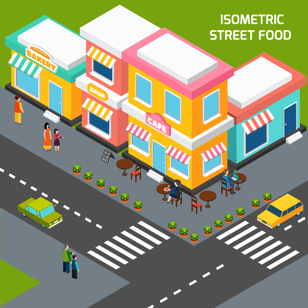 sidewalk cafe: Street food cafe with wooden tables on sidewalk pavement menu and customers isometric poster abstract vector illustration