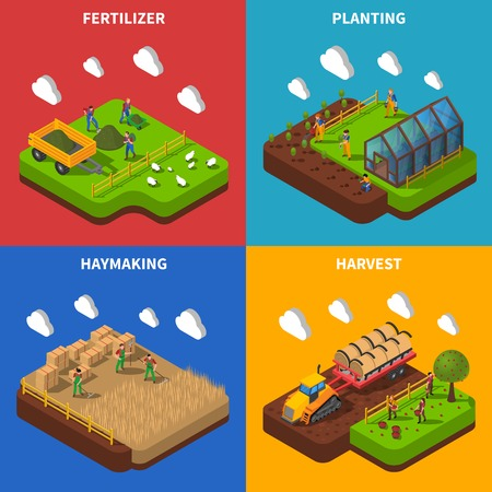 granary: Farmer Isometric Concept.Farmer  Icons Set. Farmer Vector Illustration. Farmer And Village Symbols. Farmer And Countryside Design Set. Farmer Elements Collection. Illustration