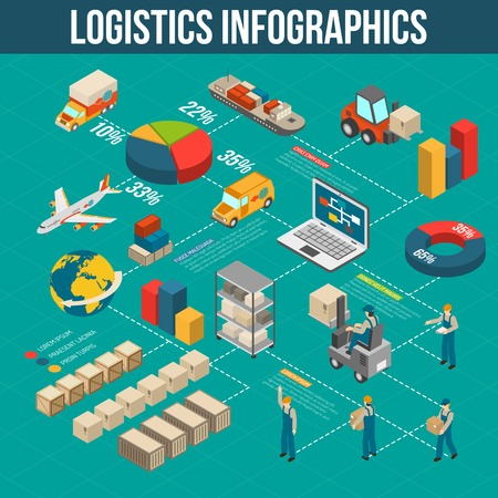 sorting: Logistics cargo transportation storage sorting and delivery infograpics in flowchart form with isometric symbols abstract vector illustration