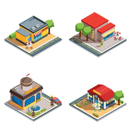 Colorful cafe restaurant pizzeria 3d isometric icons set on white background isolated vector illustration Illustration
