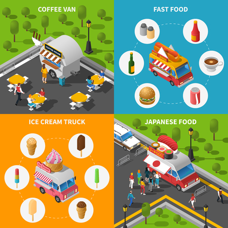 street symbols: Street Food Isometric Concept. Street Food Car Icons Set. Street Food Cart Vector Illustration. Street Food Truck Symbols. Street Food Truck Design Set.  Street Food Van Elements Collection.