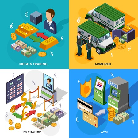 bank rate: Bank 2x2 isometric design concept set with armored trucks cash machines metals trading and exchange rate compositions vector illustration
