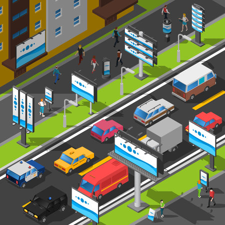 selling service: Street Advertising Illustration. Signboard Isometric Vector. Advertising Billboards On The Street. Street Billboards Design. Illustration