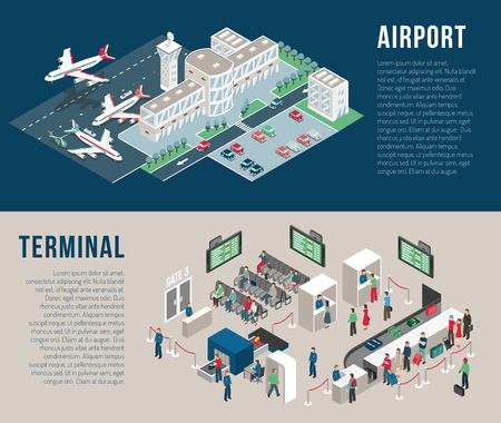 Airport isometric horizontal banners with parking hotel waiting hall front desk police detectors passengers isolated vector illustration Vectores
