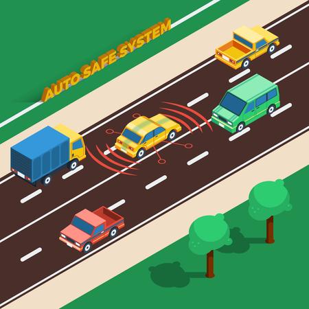distance: Auto Safe System Concept. Safe System Information. Safe SystemMIsometric Illustration. Car Safe System Vector.