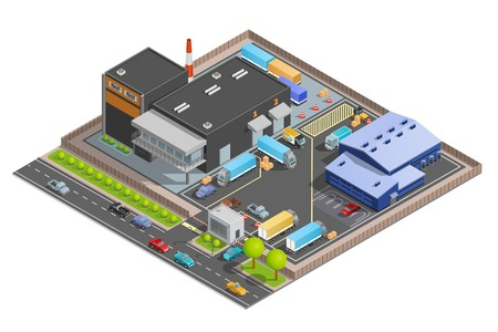 guarded: Guarded with checkpoint cargo terminal for trucks office building and parking warehouse composition isometric vector illustration Illustration