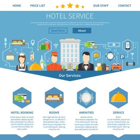 albergo: Servizio Hotel. Hotel Service Design. Servizio Hotel Illustration Vector. Simboli del Servizio Hotel. Servizio Hotel Presentation.Hotel Service Elements Flat. Sito web del servizio alberghiero.