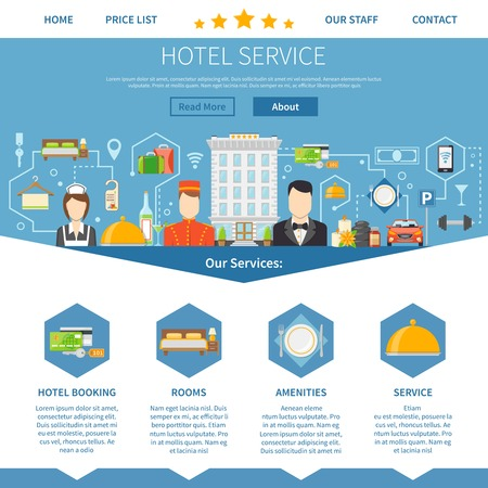 Hotel Service Page. Hotel Service Design. Hotel Service Vector Illustration. Hotel Service Symbols. Hotel Service Presentation.Hotel Service  Flat Elements. Hotel Service Website.