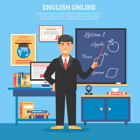 explaining: Online education training illustration poster with teacher standing at the blackboard and explaining the lesson vector illustration
