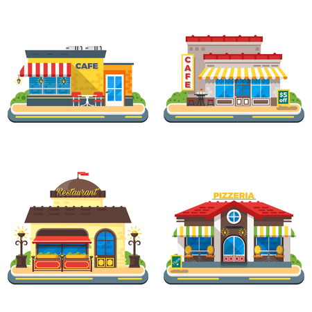 internet cafe: Colorful cafe restaurant and pizzeria buildings on white background 2x2 flat icons set isolated vector illustration
