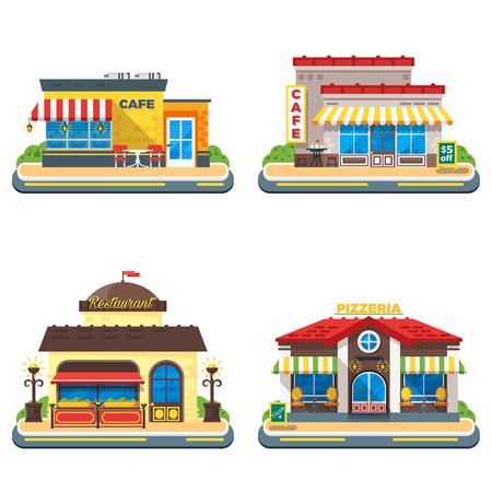 De colores café restaurante y pizzería edificios en los iconos planos 2x2 fondo blanco establece la ilustración del vector aislado