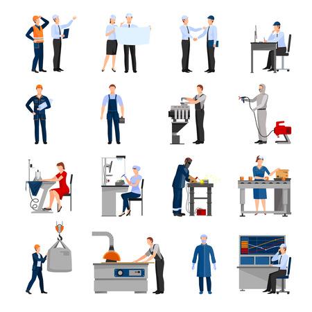 Iconen set van getrokken in vlakke stijl verschillende fabrieksarbeiders van ingenieur tot geïsoleerde operator vector illustratie transporteur